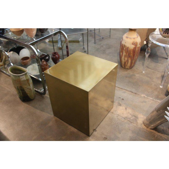 Contemporary Bridges Over Time Originals Brass Coated Cube Table For Sale - Image 4 of 9