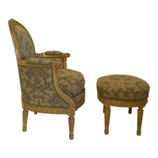 19th-Century French Louis XV Bergere & Footstool For Sale