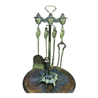 Antique English Brass Gothic Fireplace Tool Set Hearth - 5 Pieces For Sale