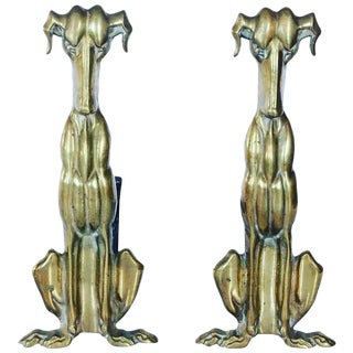 Art Deco Brass Dog Andirons - A Pair For Sale