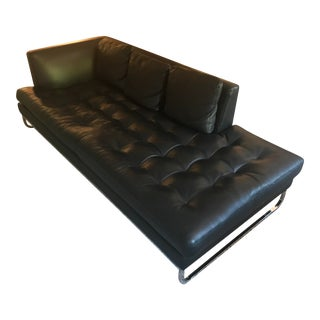 "Modern Valdichienti ""Avenue Square"" Black Leather Sofa For Sale"