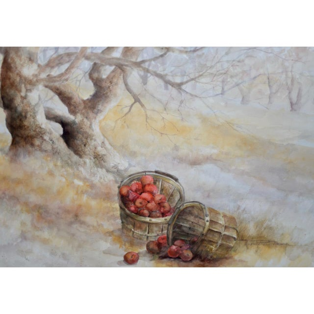 "Impressionist Maxine Remont Macway (American, 20th C.) ""Forgotten Baskets"" Original Watercolor For Sale - Image 3 of 7"