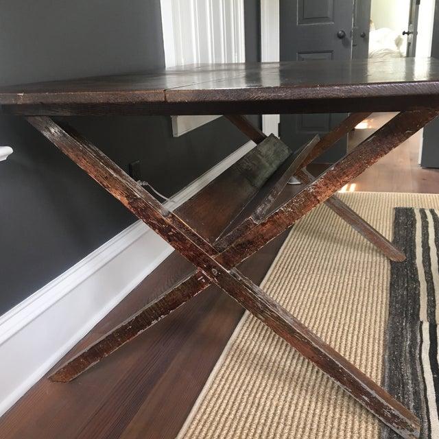Vintage Trestle Table For Sale - Image 10 of 11