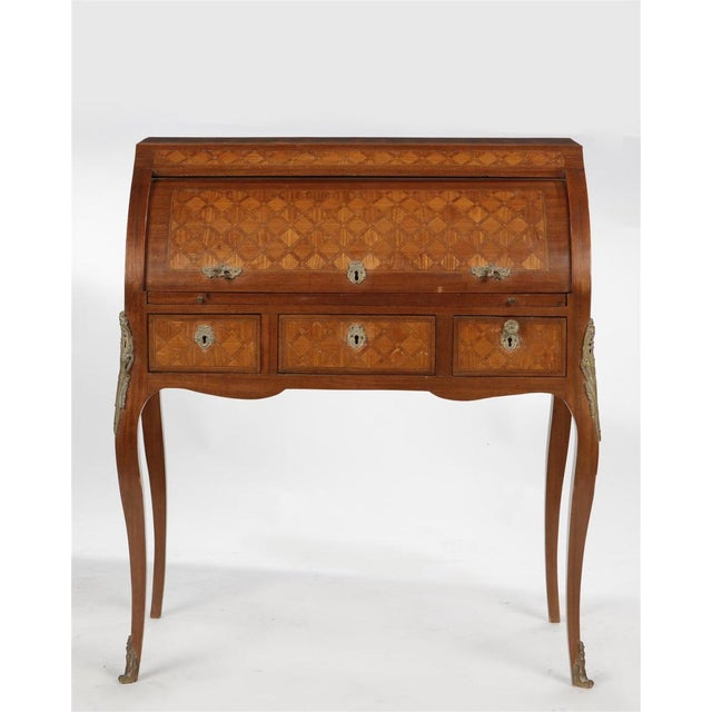 A Louis XV/XVI Transitional Style Parquetry Inlaid Walnut Cylinder Desk Early 20th Century French, highly detailed...