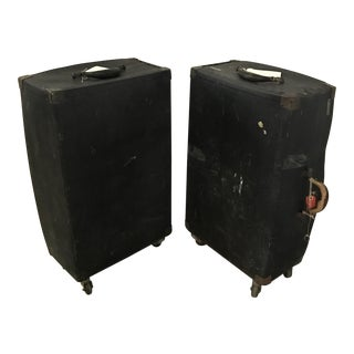 Vintage Black Trunks on Rollers- A Pair For Sale