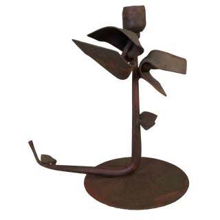 Albert Paley Forged Iron Floral Candlestick For Sale