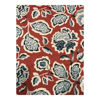 Country Schumacher Deco Flower in Berry Linen - 11 Continuous Yards of Fabric For Sale