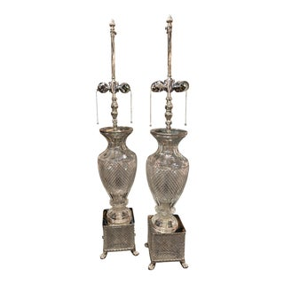 Crystal and Silver Plated Fine Quality Lamps - a Pair For Sale
