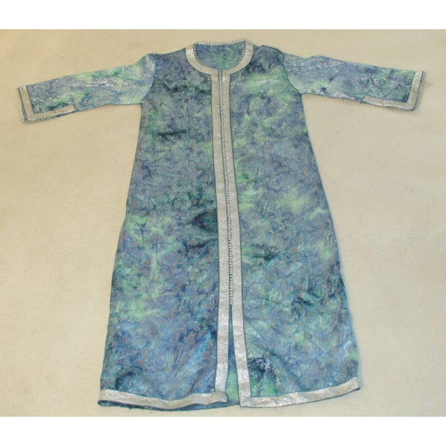 Moroccan Caftan Maxi Dress Brocade Aquamarine Blue and Silver Size M to L For Sale - Image 9 of 11