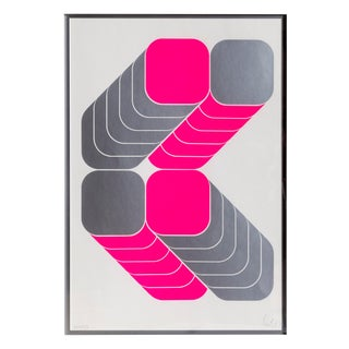 Thomas Lenk - Framed Bright Pink Abstract Screenprint For Sale