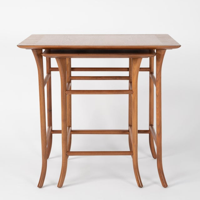 Mid-Century Modern Walnut Nesting Tables Inspired by T.H. Robsjohn-Gibbings, Circa 1990s - a Pair For Sale - Image 3 of 13
