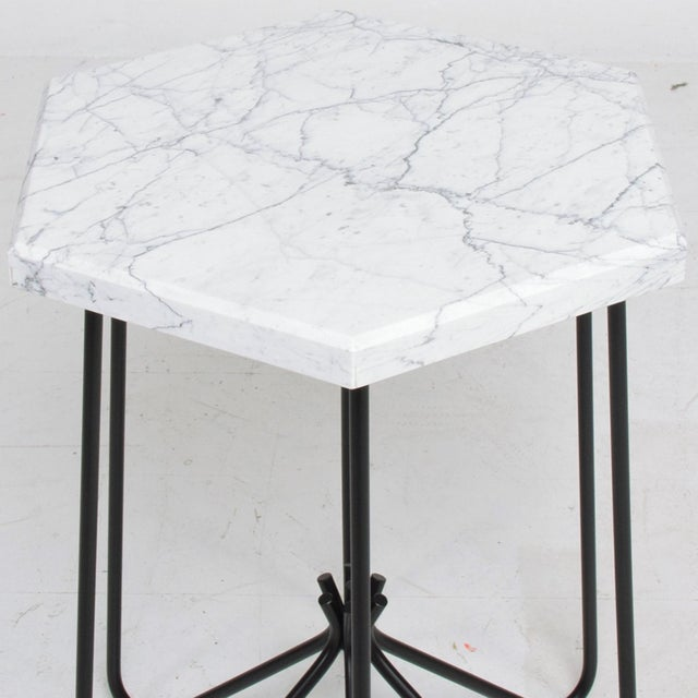 Metal French Modern Sculptural Metal & Marble Hexagonal Side Table After Jean Royere For Sale - Image 7 of 9