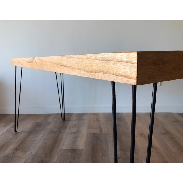 Vintage Wood Framed Tile Mosaic Sofa Table With Hairpin Legs For Sale - Image 10 of 13