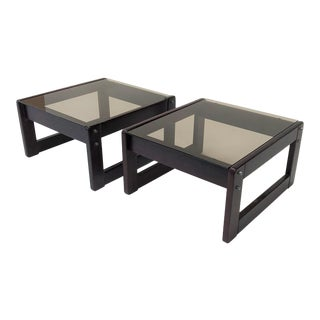 1960s Mid-Century Modern Percival Laver Rosewood and Glass Side Tables - a Pair For Sale
