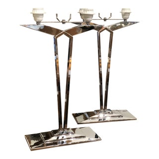 Pair of French Chrome Lamps For Sale