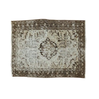 "Vintage Distressed Hamadan Square Rug Mat - 2' X 2'6"" For Sale"