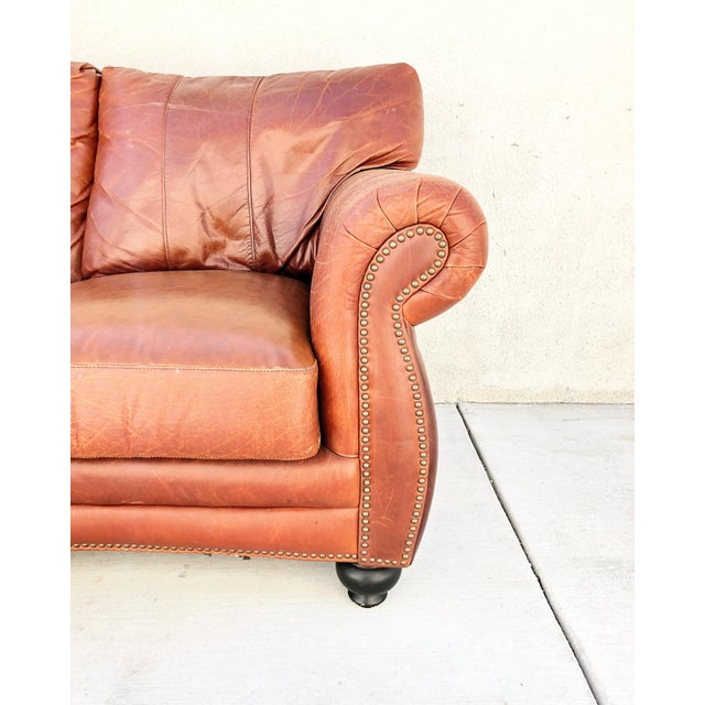 Italian Vintage Rapallo Italian Leather Sofa For Sale - Image 3 of 8