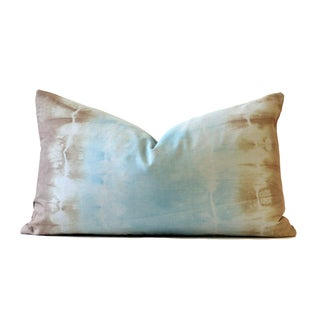 Designer Tie-Dye Blue and Taupe Pillow
