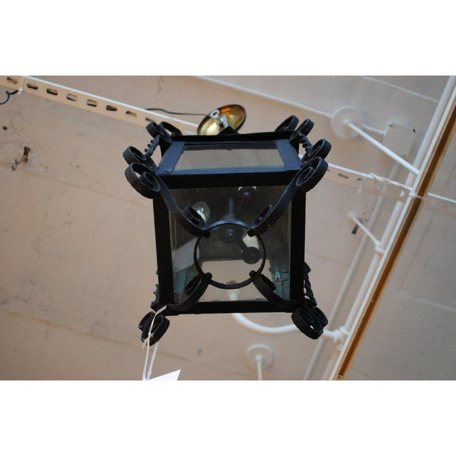 19th Century Four-Sided Arts & Crafts Iron Lantern For Sale - Image 4 of 6