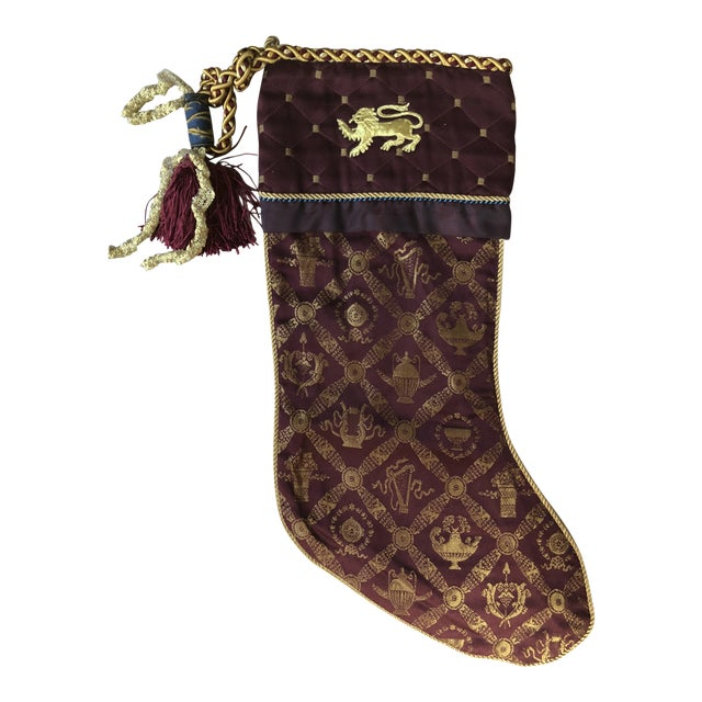 Christmas Stocking with Gold Lion on Cuff For Sale