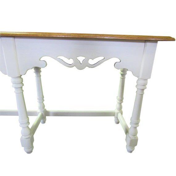 1980s Ethan Allen Farmhouse Cottage Painted Console Sofa Table For Sale - Image 5 of 6