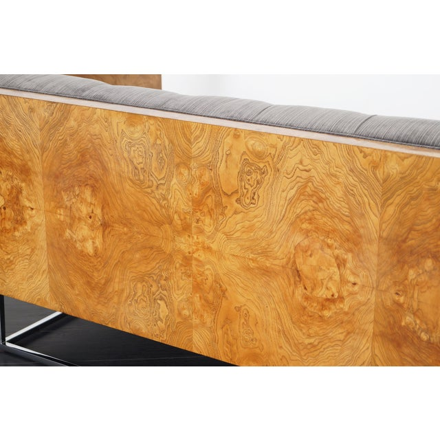 """Light Yellow Vintage Burl Wood """"Case"""" Loveseat by Milo Baughman For Sale - Image 8 of 9"""