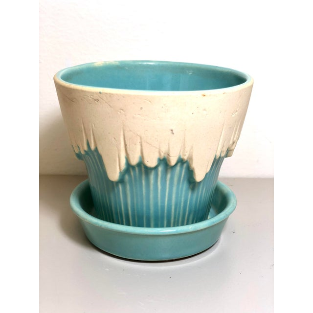 """1940s 1940s - 1960s Mid-Century McCoy Pottery Small """"Teal Blue"""" Flowerpot and Saucer For Sale - Image 5 of 5"""
