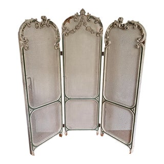 French Antique Louis XVI Plaster & Cane Dressing Screen For Sale