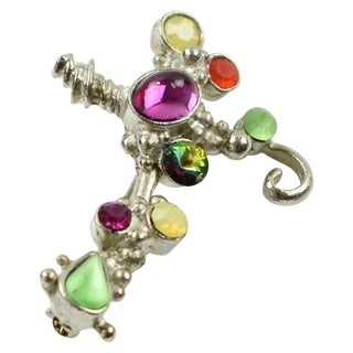 Christian Lacroix Paris Signed Silvered Metal Jeweled Cross Pin Brooch For Sale