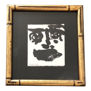 Contemporary Small Abstract Robert Cooke Face Painting Gilt Bamboo Frame For Sale