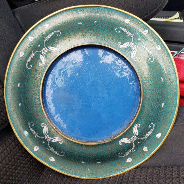 Chinese Circa 1880 Chinese Cloisonne Gilt Brass Shallow Bowl For Sale - Image 3 of 5