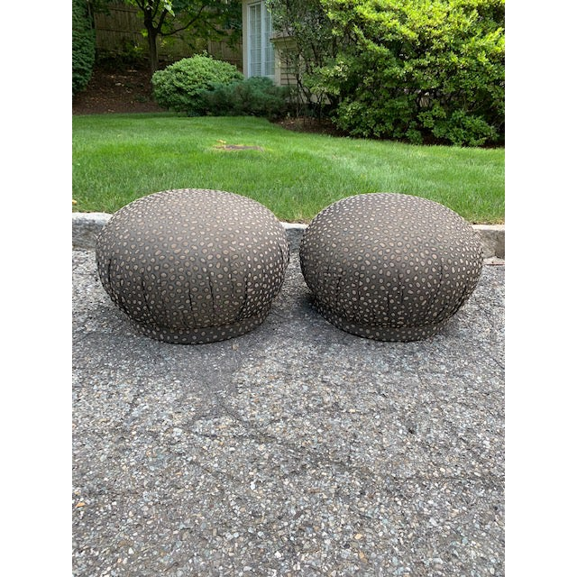 Groovy pair of Soufflé pouf ottomans from the 80's. Upholstered in brown leopard cut velvet fabric. In awesome condition!