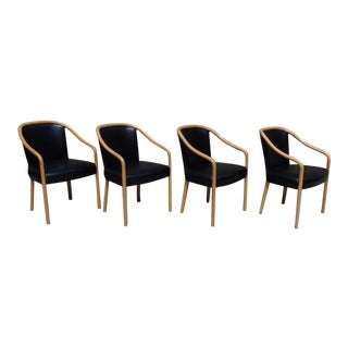 Set of Four Ward Bennet Ash Frame Black Leather Chairs For Sale