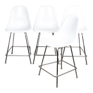 Modernica Case Study Fiberglass Side Shell H-Base Counter Stools - Set of 4 For Sale