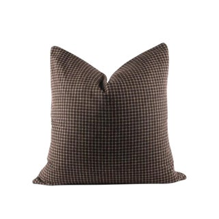 "Brown Mini Plaid Wool Lumbar Pillow 22"" x 22"" For Sale"