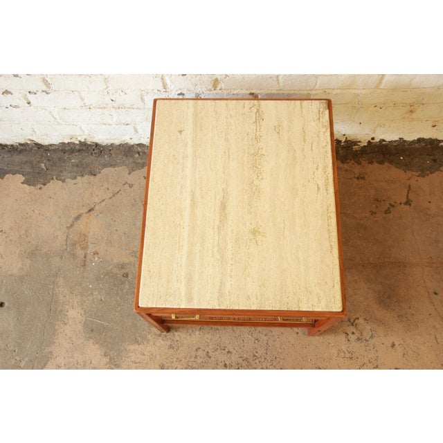 Gold Gerry Zanck for Gregori Mid-Century Walnut & Travertine Side Table For Sale - Image 8 of 11