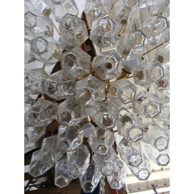 Clear Poliedro Murano Glass with 24K Gold Frame Sputnik Chandelier For Sale - Image 9 of 10