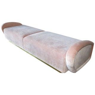 Custom 1960s Italian Style Light Pink Velvet Sofa Bench For Sale