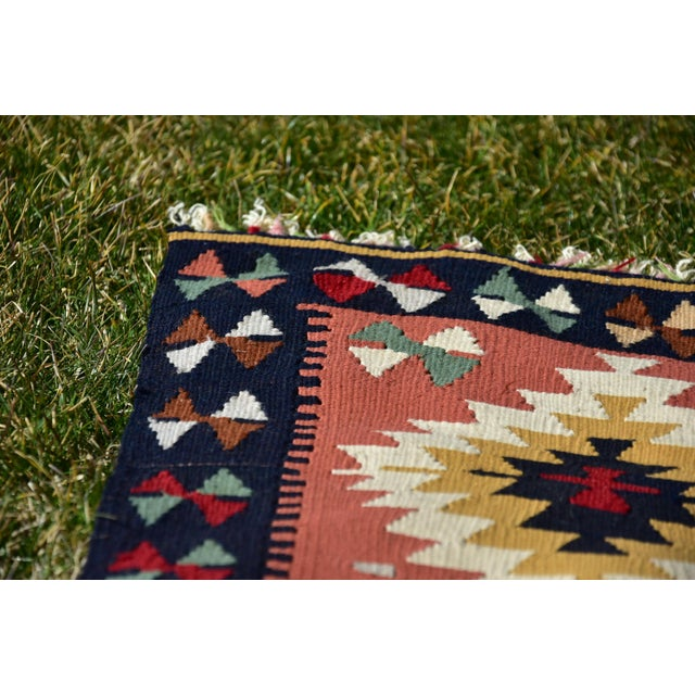 Vintage Hand Knotted Traditional Southwestern Style Anatolian Kilim Rug For Sale In Sacramento - Image 6 of 13