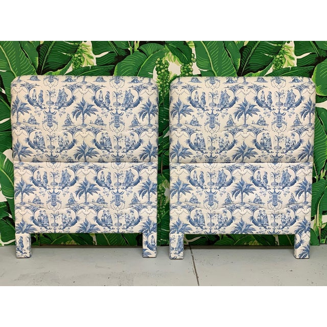 Textile Twin Size Chinoiserie Style Upholstered Headboards For Sale - Image 7 of 7