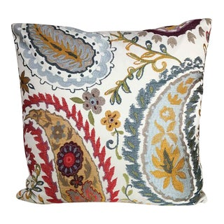 Kim Salmela Embroidered Floral Pillow For Sale