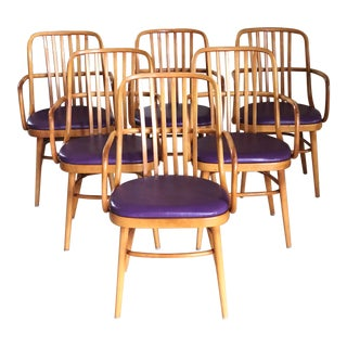 1970s Vintage Purple and Maple Bentwood Dining Armchairs- Set of 6 For Sale