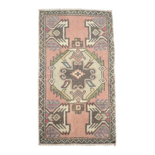 Distressed Low Pile Rug Muted Colors Yastik Rug Mat - 1'8'' X 2'12'' For Sale