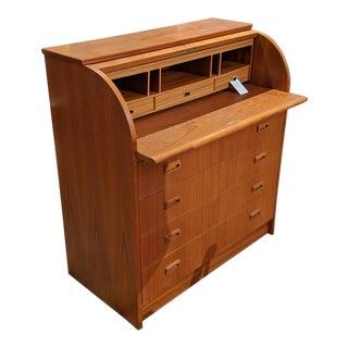 1960s Scandinavian Modern Teak Rolltop Desk For Sale
