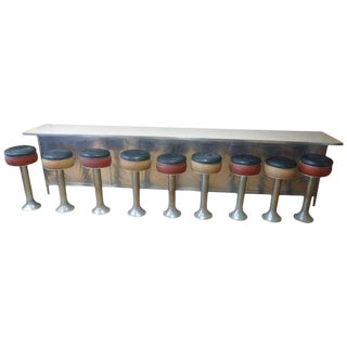 Counter From 1930s Soda Fountain Diner With Nine Swivel Stools, Art Deco For Sale