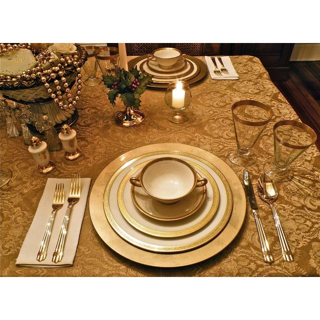 Late 20th Century Large Lenox Westchester Gold China M139 Presidential Charger Plates - Set of 4 For Sale - Image 5 of 6