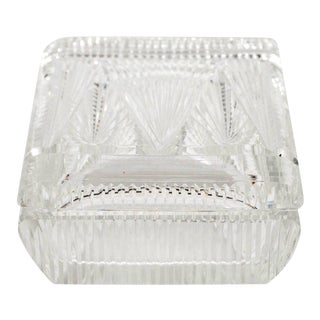 Art Deco Czech Skyscraper Style Clear Glass Box with Rectilinear Beveled Designs For Sale