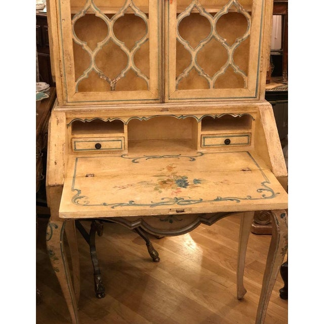 Early 20th Century Antique Italian Paint Decorated Secretary Desk For Sale - Image 5 of 9