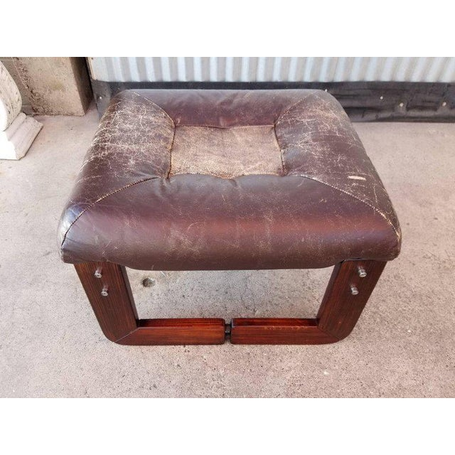 Mid-Century Modern Leather Footstool by Percival Lafer For Sale - Image 3 of 5