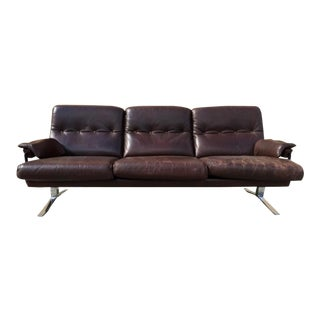 Arne Norell Hand Stitched Leather & Chrome Sofa For Sale